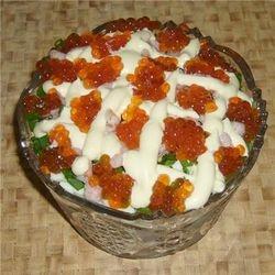 рецепты салатов с икрой