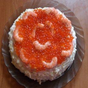 салат креветки красная икра